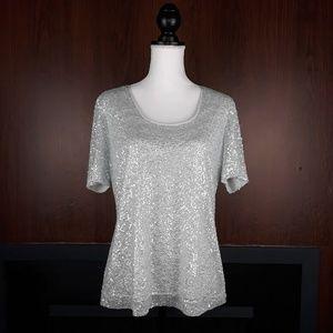ST JOHN Silk Sequin Light Gray Top